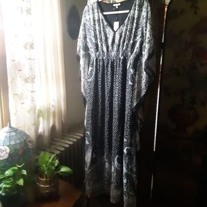 NWT Paisley Mixed Print Kaftan Maxi Dress
